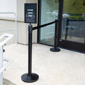 "Lancaster Table & Seating Black 36"" Crowd Control / Guidance Stanchion Kit including Frame & Sign Set with Clear Covers"