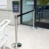 "Lancaster Table & Seating Silver 36"" Crowd Control / Guidance Stanchion Kit including Frame & Sign Set with Clear Covers"