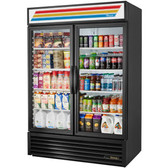 True GDM-49-HC~TSL01 Black Glass Door Refrigerated Merchandiser with LED Lighting