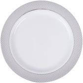 """Silver Visions 10"""" White Plastic Plate with Silver Lattice Design - 120/Case"""