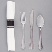 "Silver Visions 17"" x 17"" Pre-Rolled Linen-Feel White Napkin and Silver Heavy Weight Plastic Cutlery Set - 100/Case"
