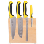 Mercer Culinary M21980YL Millennia 5-Piece Rubberwood Magnetic Board and Yellow Handle Knife Set