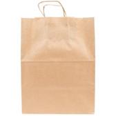 "Duro Regal Natural Kraft Paper Shopping Bag with Handles 12"" x 9"" x 15 3/4"" - 200/Bundle"