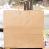 "Duro Debonair Natural Kraft Paper Shopping Bag with Handles 16"" x 6"" x 15 3/4"" - 200/Bundle"