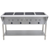 ServIt EST-4WE Four Pan Open Well Electric Steam Table with Undershelf - 208/240V, 3000W
