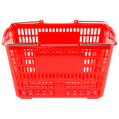 "Red 18 3/4"" x 11 1/2"" Plastic Grocery Market Shopping Basket"