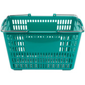 "Green 18 3/4"" x 11 1/2"" Plastic Grocery Market Shopping Basket"