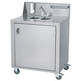 Crown Verity CV-PHS-2C Double Bowl Cold Water Portable Hand Sink Cart