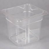 "1/6 Size Clear Polycarbonate Food Pan - 6"" Deep"