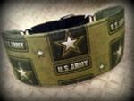 "Premade US Army 2 Inch Wide Hound Collar 12-13"""
