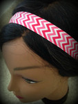 Shaka Girl Headband - Chevron Hot Pink/Shocking Pink 1""