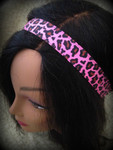 Shaka Girl Headband - Leopard Hot Pink 1""