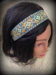 "Shaka Girl Headband - Kona Turquoise/Mustard  1 1/2"""
