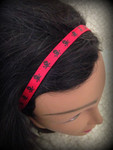 Shaka Girl Headband - Skulls Red/Black 3/8""