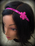 Shaka Girl Headband - Shimmer Fuchsia with Flower 3/8""