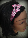 Shaka Girl Headband - Leopard Hot Pink Glitter with Bow 1""