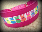 "Premade Mustached Marshmallow Bunnies 2"" Wide Hound Collar 14-15"""