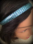 Shaka Girl Headband - Chevron Shimmer Turquoise/Purple 3/4""