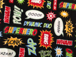 Custom Shaka Shield Bellyband - Superhero Action Words Black