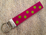 Keychain Wristlet - Tropical Dots Hot Pink/Lime 9""