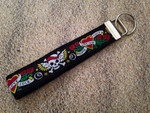 Keychain Wristlet - Tattooed Black 10""