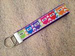 """Keychain Wristlet - Chevron Owls 10"""""""