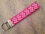Keychain Wristlet - Chevron Pink/Shocking Pink/White 9""