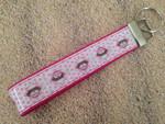 "Keychain Wristlet - Sock Monkey Pink 10"""