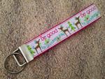 """Keychain Wristlet - Merry & Bright Glitter Reindeer 10"""""""