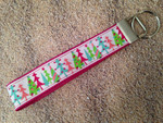 Keychain Wristlet - Merry & Bright Glitter Trees 10""