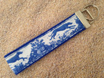 Key Leash - Toile Hounds Blue/White 10""