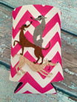 Can Koozie - Stacked Hounds Hot Pink/White Chevron