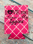 Can Koozie - Love Me Love My Iggies Hot Pink/White Quatrefoil