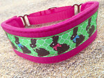 Premade Chocolate Bunnies Pink Hound Collar 9-10""