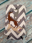 Can Koozie - Stacked Hounds Grey/White Chevron
