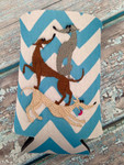 Can Koozie - Stacked Hounds Aqua/White Chevron