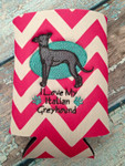 Can Koozie - I Love My Italian Greyhound Hot Pink/White Chevron