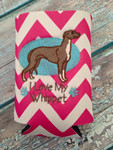 Can Koozie - I Love My Whippet Hot Pink/White Chevron