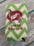 Can Koozie - I Love My Borzoi Lime/White Chevron