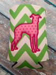 Can Koozie - Greyhound Silhouette Lime/White Chevron