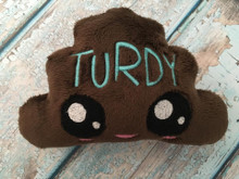 Dark brown minky with turquoise embroidered name
