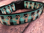 Premade Plaid Deer Turquoise 1 Inch Side Release 9-12""