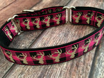 Premade Plaid Deer Hot Pink 1 Inch Martingale 10-14""