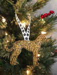 Ornament Greyhound Silhouette Gold Marble Glitter