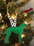 Ornament Greyhound Silhouette Green Glitter