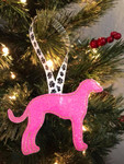Ornament Greyhound  Silhouette Neon Pink Glitter