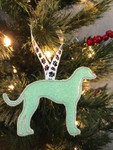 Ornament Greyhound Silhouette Mint Glitter