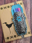 Planner Pocket Band - Scalloped Paw Print Leopard Glitter / Aqua
