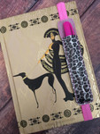 1 Pen Holder Planner Band - Leopard Silver Glitter / Cotton Candy Glitter