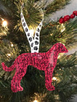 Ornament Greyhound Silhouette Red Marble Glitter